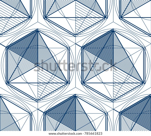 Geometric 3d Lines Abstract Seamless Pattern Stock Vector