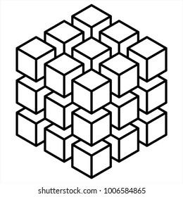 Geometric 3D object optical illusion. Vector illustration, 3D cube idea