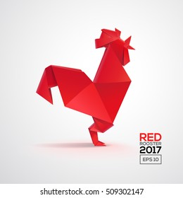 Geometric 3d Red Rooster isolated from grey. Realistic origami style rooster. Template for cover banner poster design. Isolated vector illustration for card or icon