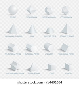 Geometric 3D shapes with names vector illustration set isolated on transparent background. Collection of geometry figures in three dimensional shape