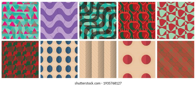Geometric 3D tileable texture realistic shadow. Collection of seamless patterns. Set of retro backgrounds and wallpapers.