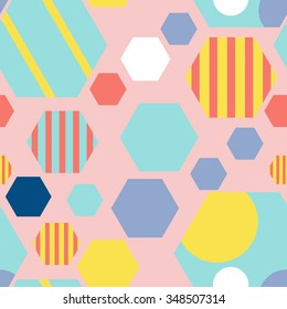 Geometric abstrac hexagon seamless pattern