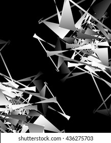 Geometric abstract art. Edgy, angular rough texture. Monochrome, black and white vector illustration