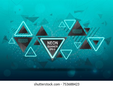 Geometric abstract background of black triangular elements with neon lights on a blue background with flying elements, explosion vector illustration