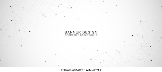 Geometric abstract background with connected dots and lines. Molecular structure and communication concept. Digital technology background and network connection