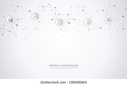 Geometric abstract background with connected dots and lines. Global network concept and communication technology