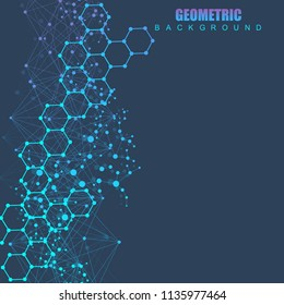Geometric abstract background with connected line and dots. Scientific concept for your design. Global cryptocurrency blockchain business banner concept. Vector illustration