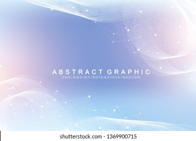 Geometric abstract background with connected line and dots. Network and connection background for your presentation. Graphic polygonal background. Scientific vector illustration.