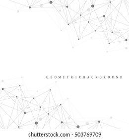 Geometric abstract background with connected line and dots. Graphic background for your design. Vector illustration