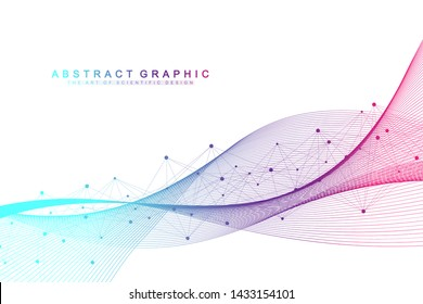 Geometric abstract background with connected lines and dots. Wave flow. Molecule and communication background. Graphic background for your design. Vector illustration