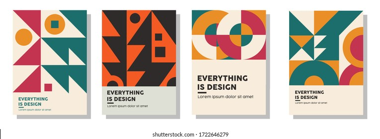 geometric abstract background covers set. colorful ethnic patterns shapes composition, vector covers design. eps 10