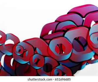 Geometric abstract background, cut chain shapes or hexagons on white. Vector illustration