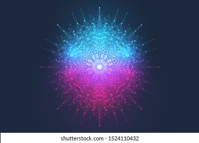 Geometric abstract background expansion of life. Colorful explosion background with connected line and dots, wave flow. Graphic background explosion, motion burst. Scientific vector illustration.