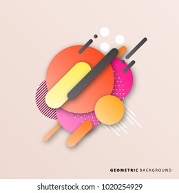 Geometric abstract background. Flat lines vector pattern and halftones. Card, cover, poster, flyer, banner template design.