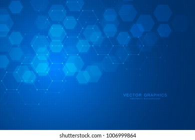 Geometric abstract background with hexagons. Structure molecule and communication. Science, technology and medical concept. Vector illustration