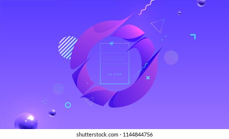 Geometric abstract background with liquid dynamic fluid shapes. Vector illustration
