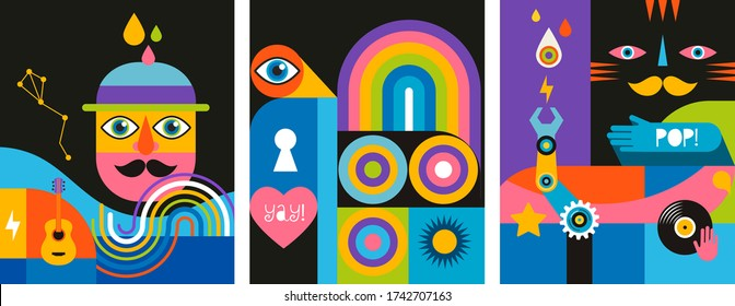 Geometric abstract background, street wall art concept, festival, street fair, carnival event poster, banner design. Vector design and illustration