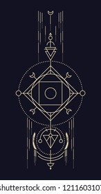 Geometric abstract composition with circle and square, using alchemical signs and symbols of planets, elements and metals. A template for a tattoo. Drawing for posters, booklets, printing. Vector