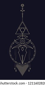 Geometric abstract composition with a circle and a stylized skull using alchemical signs and symbols of planets, elements and metals. A template for a tattoo. Drawing for posters, booklets, printing.