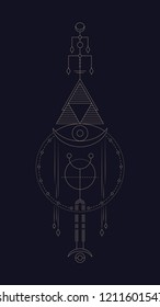 Geometric abstract composition with circle and triangle using alchemical signs and symbols of planets, elements and metals. A template for a tattoo. Drawing for posters, booklets, printing. Vector