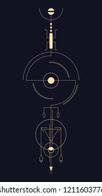 Geometric abstract composition with circle, triangle and diamond pendants. A template for a tattoo. Drawing for posters, booklets, printing. Vector