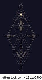 Geometric abstract composition with rhombuses using alchemical signs and symbols of planets, elements and metals. A template for a tattoo. Drawing for posters, booklets, printing. Vector
