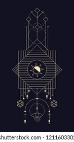 Geometric abstract composition with square and stylized sun using alchemical signs and symbols of planets, elements and metals. A template for a tattoo. Drawing for posters, booklets, printing