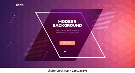 Geometric abstract gradient background design. Hexagon shape abstract vector composition on background. Futuristic design posters. Eps10 vector.