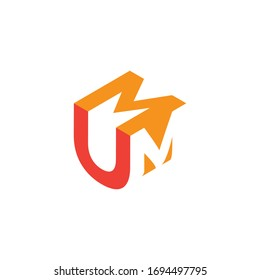 geometric and abstract logo with U & M letter for business or company design, vector file
