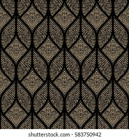The geometric abstract pattern. Seamless vector background. Black and gold texture. Graphic modern pattern