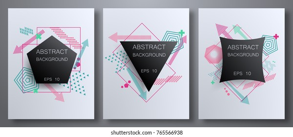 Geometric abstract pattern set with sharp forms, colors: triangles, circles, points, modern elements. Can be used on flyers, web, geometric design, cover. Vector geometric abstract illustration.