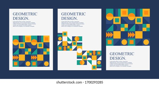 Geometric abstract poster with retro style. Cover design templates. Good for poster event, card, invitation, flyer, cover, banner, placard, brochure, magazine, etc.