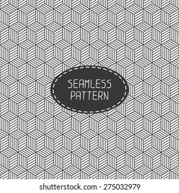 Geometric abstract seamless cube pattern with rhombuses. Wrapping paper. Paper for scrapbook. Tiling. Vector illustration. Background. Stylish graphic texture with optical illusion effect for design.