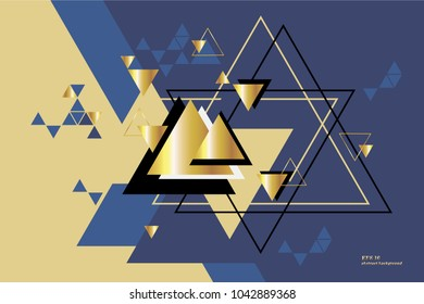 geometric, abstract, silver, gold, vector background with triangles.