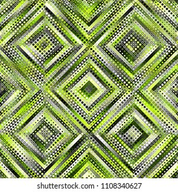 Geometric abstract symmetric pattern in low poly pixel art style. Polka dot pattern on low poly background. Vector image.