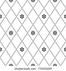 Geometric abstract vector black and white pattern. Geometric modern ornament with flowers. Seamless modern background