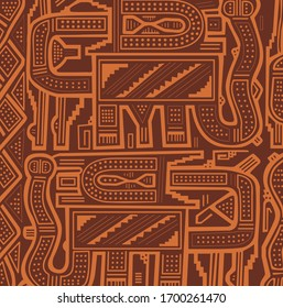 Geometric abstract vector from Chimu an ancient Peruvian culture. Pre-Columbian art pattern from Chimu textiles. Pre inca historic period.