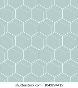 Geometric abstract vector hexagonal background. Geometric modern light blue and white ornament. Seamless modern pattern