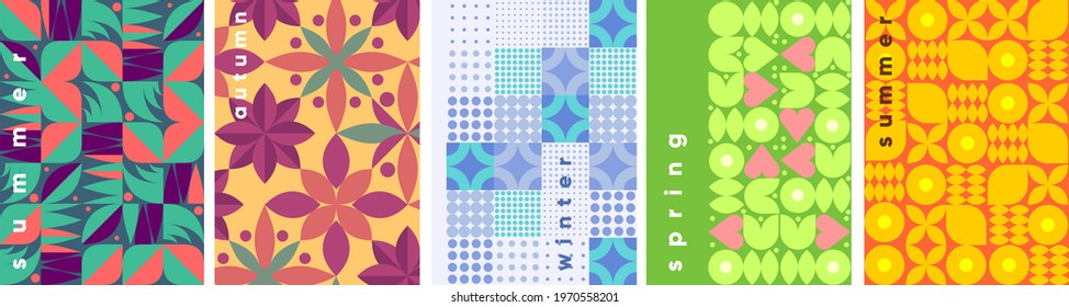Geometric abstraction. Seasons. Summer, winter, autumn, spring. A set of vector illustrations.  Background pattern for a poster, banner, or flyer.