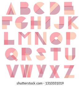 Geometric abstrat colorful typography font design