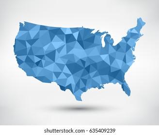 Geometric American map.Polygonal map of USA.