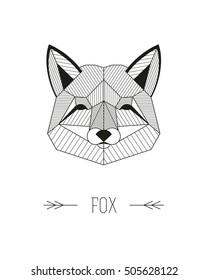 Geometric animal head. Fox. Vector minimalistic linework illustration.