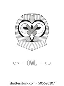 Geometric animal head. Owl. Vector minimalistic linework illustration.