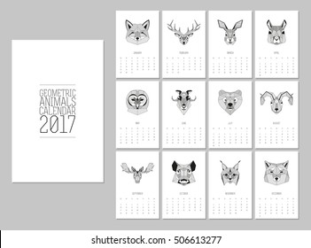 Geometric animals heads calendar 2017. Vector linework design. Week starts from Sunday.