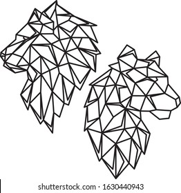 geometric animals lion and lioness line cut triangles