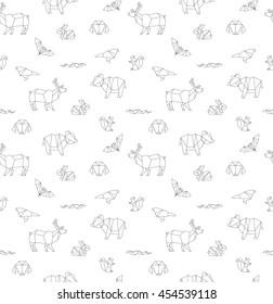 Geometric animals, seamless pattern, vector