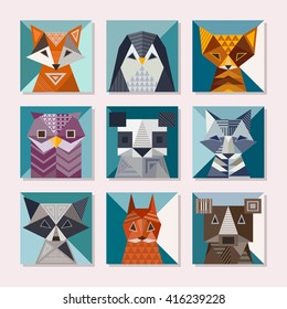 Geometric animals set. Cute cards with geometric shapes. Fox, penguin, cat, owl, panda, wolf, bear, raccoon, squirrel and bear vector illustrations.