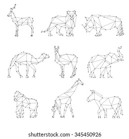 Geometric animals silhouettes. Unusual logo, roe and lion, rhino and camel, elephant and gorilla, vector illustration