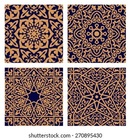 Geometric arabic seamless patterns with orange ornament and interlacing foliage elements on dark indigo background for religion or tile design