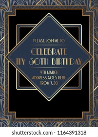 Geometric Art Deco Birthday Invitation Design
